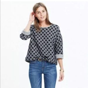 Madewell charcoal polka dot pullover marled top